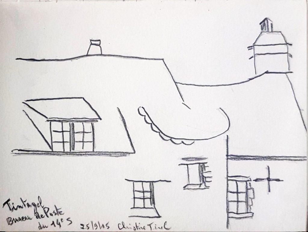 Croquis 023 Bureau de poste du 14e siècle à Tintagel (Cornouailles) 25/09/15
