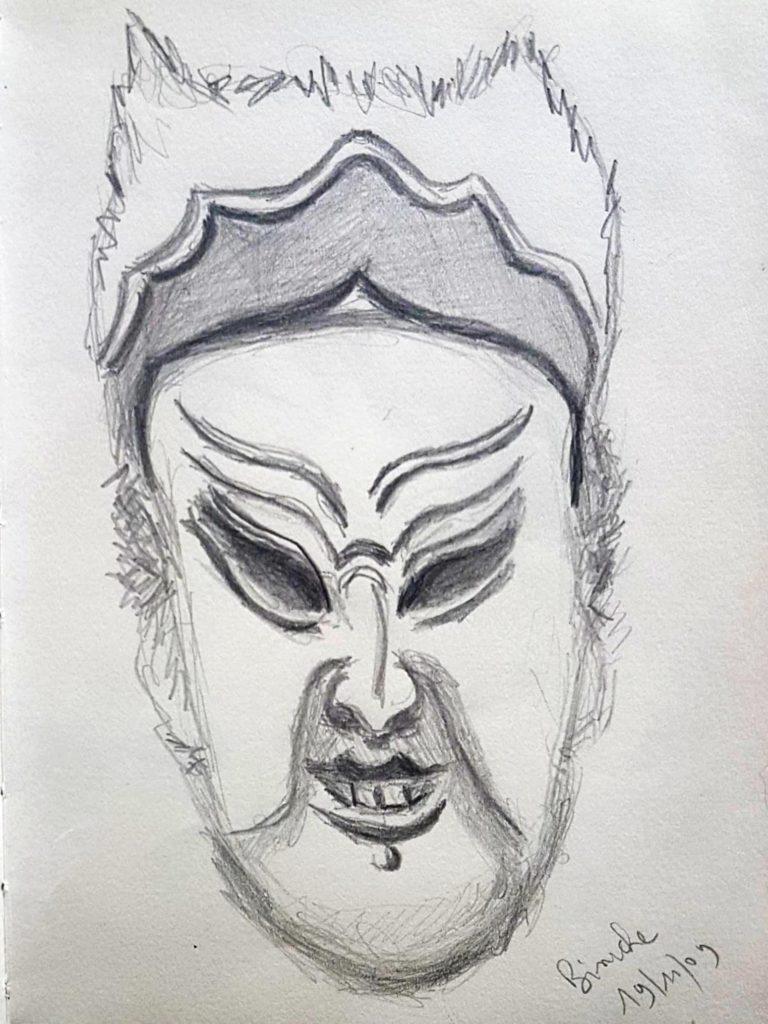 Croquis 041 Musée du masque, Binche, 19/11/09